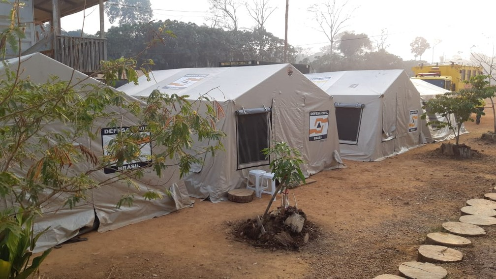 Barracas montadas em equipamentos para atuar em operação — Foto: 17ª Brigada/Divulgação