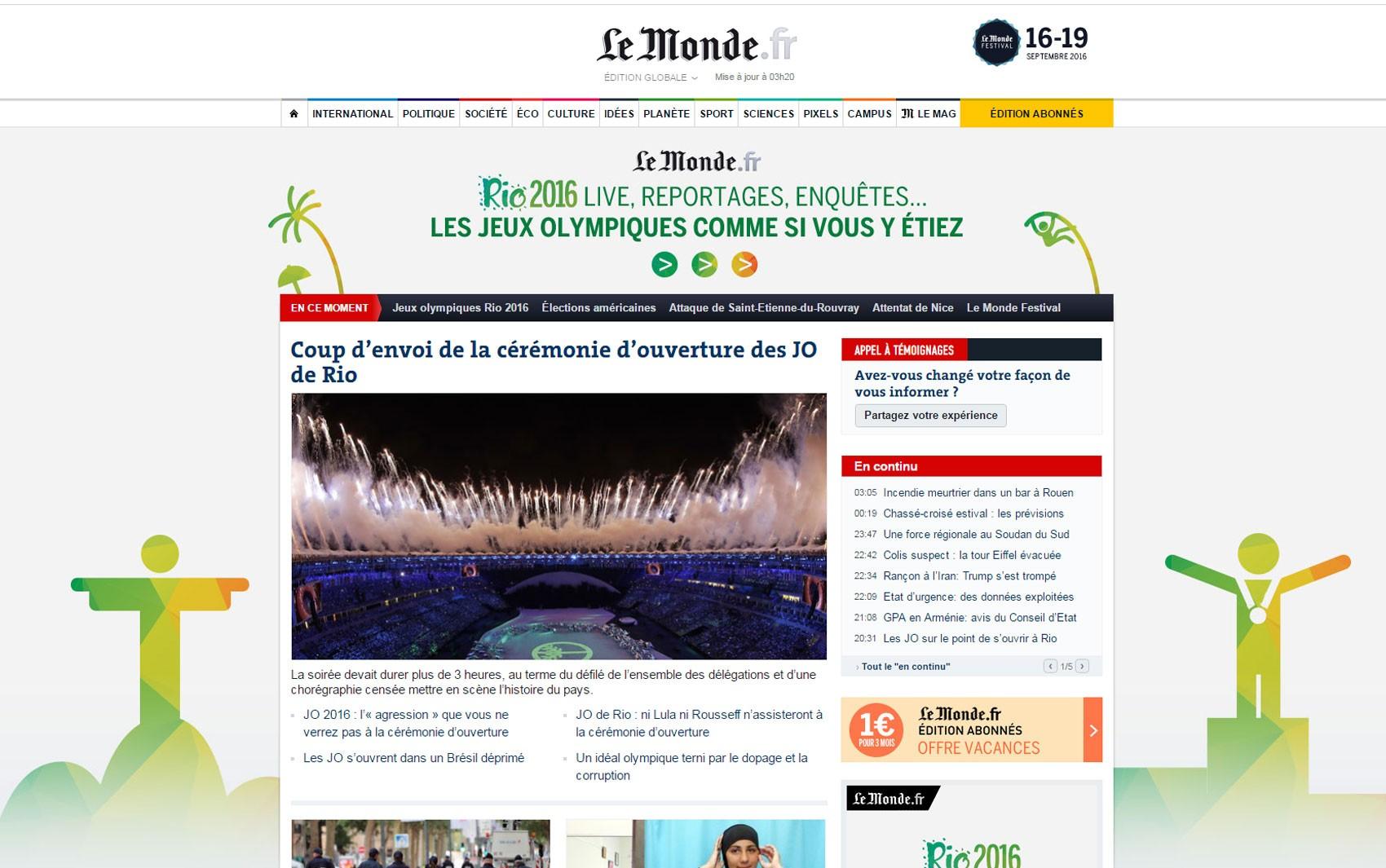 'Le Monde' também deu destaque à cerimônia de abertura da Olimpíada do Rio