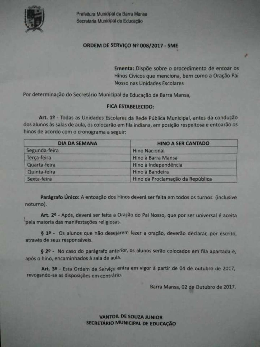 Documento Barra Mansa (Foto: Reprodução/Facebook)