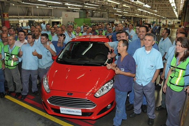 Job 1 celebration for Brazilian-made New Fiesta Hatch at the São Bernardo do Campo plant. (Foto: Divulgação)