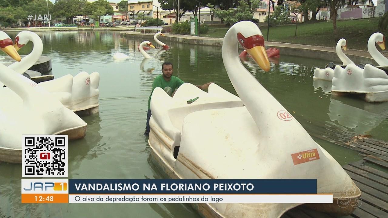 Vandalismo na Floriano Peixoto, em Macapá: alvos da depredação foram os pedalinhos do lago