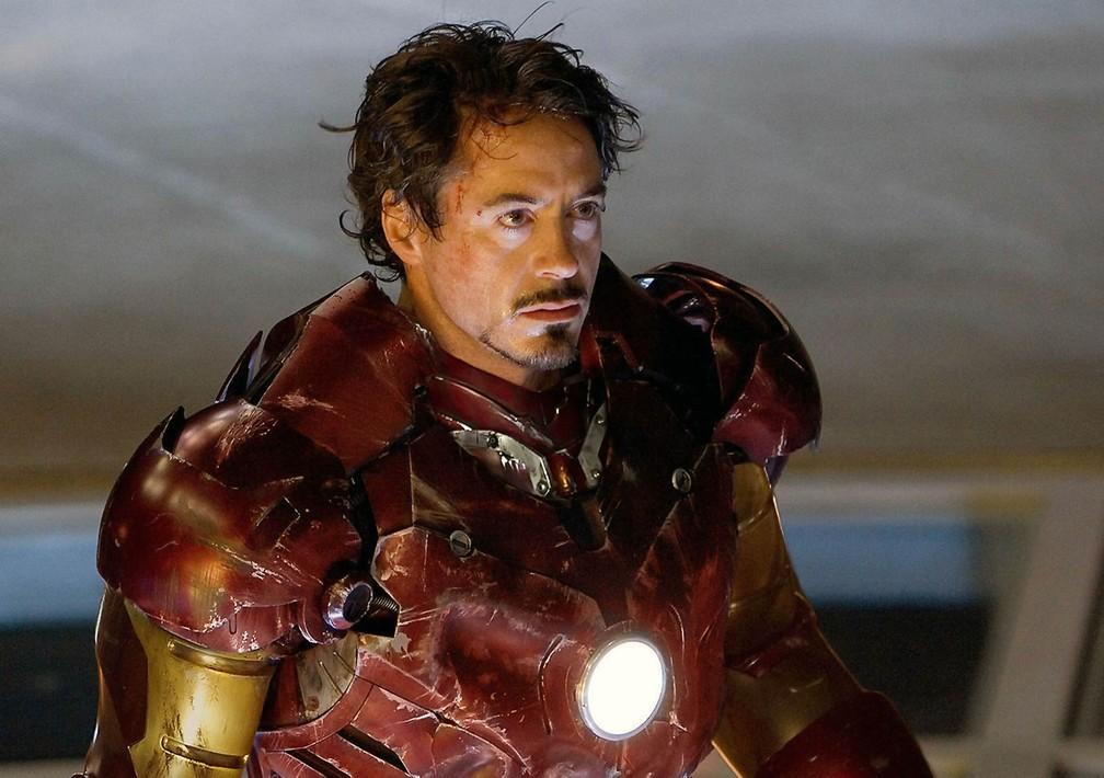 O ator Robert Downey Jr. como Tony Stark em cena de 'Homem de Ferro', de 2008 (Foto: Marvel Studios/Fairview Entertainment/Collection ChristopheL via AFP)