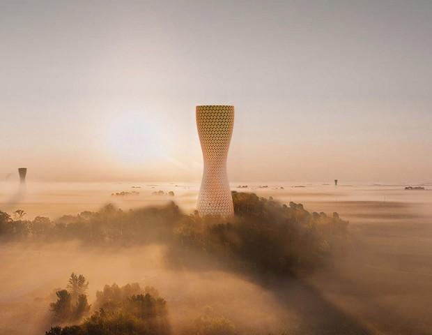 Designers desenvolvem torre para purificar o ar de Délhi, na Índia (Foto: Divulgação)