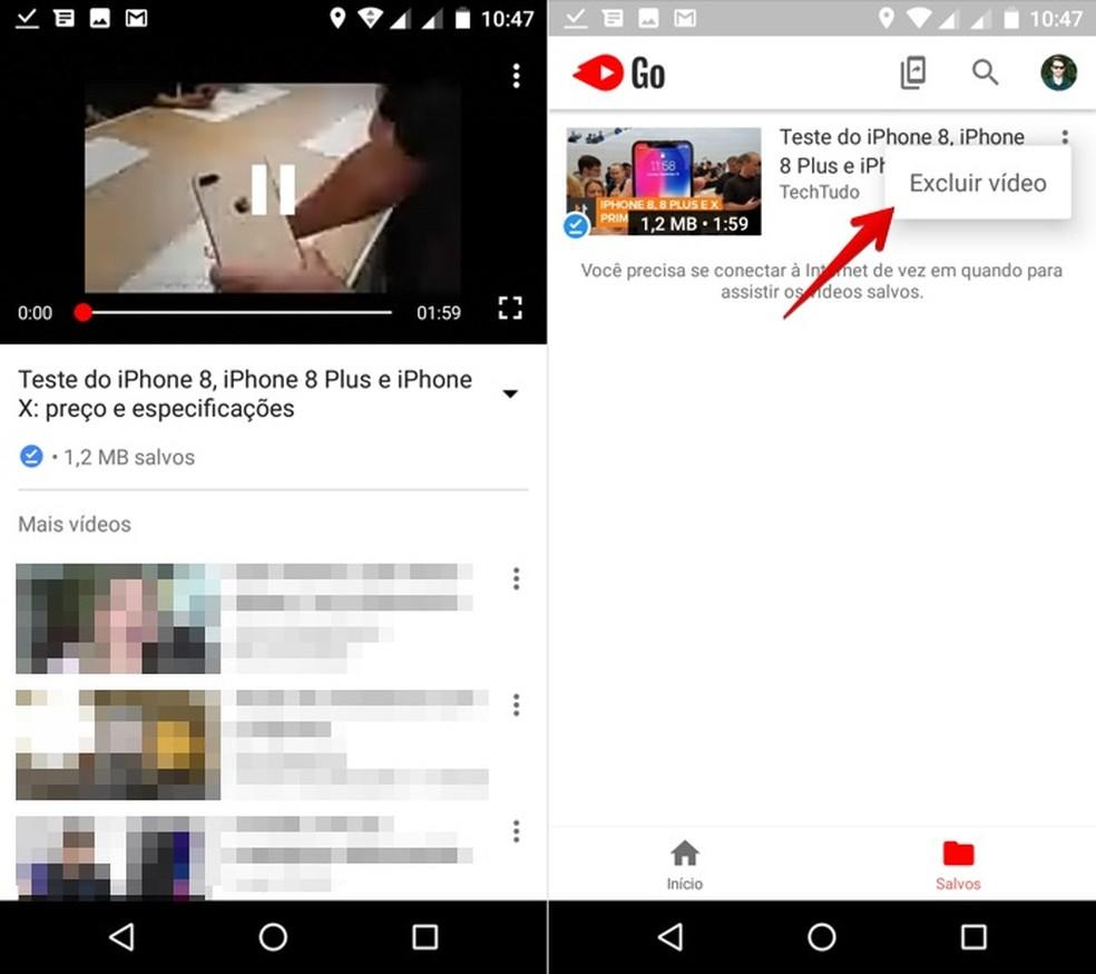 Gerenciando vídeos baixados (Foto: Reprodução/Helito Bijora)