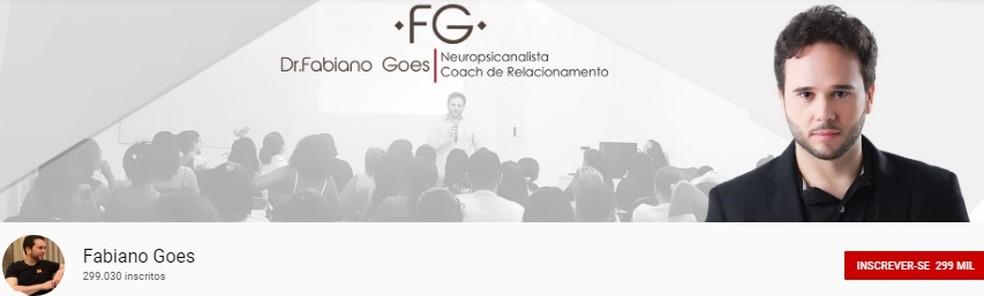 Capa do canal do Fabiano Góes no YouTube — Foto: Reprodução/Youtube