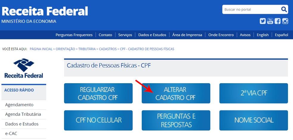 """Clique em """"Alterar cadastro CPF"""" para prosseguir — Foto: Reprodução/Ana Letícia Loubak"""