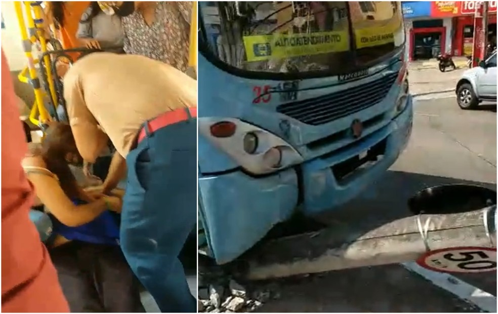 Motorista fica desacordado, e ônibus colide em poste em Fortaleza — Foto: Reprodução