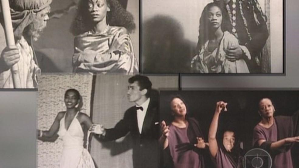 Fotos de momentos da carreira de Ruth de Souza que ilustram depoimento ao Memória Globo — Foto: TV Globo
