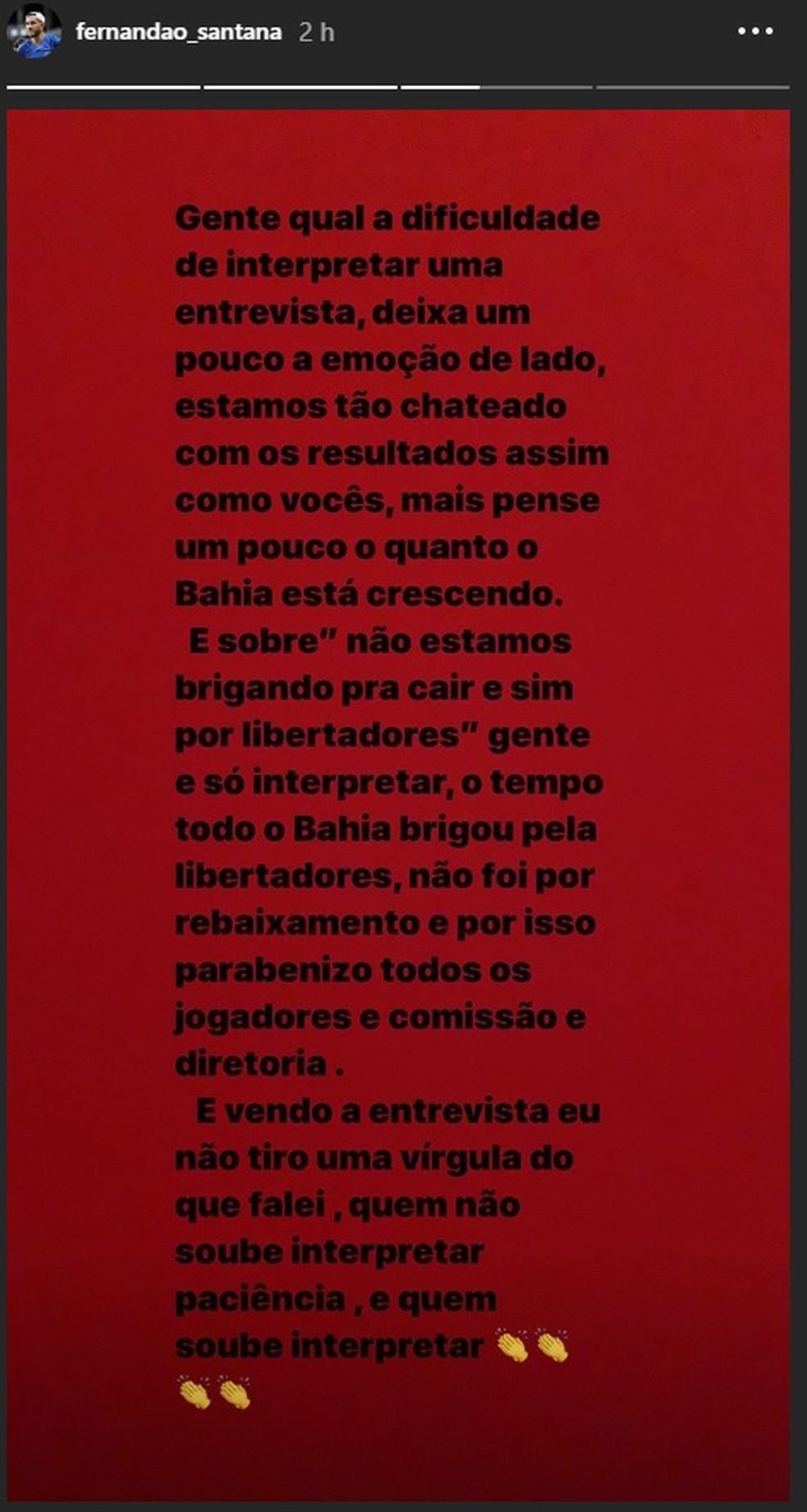 Fernandão desabafa após empate do Bahia — Foto: Reprodução