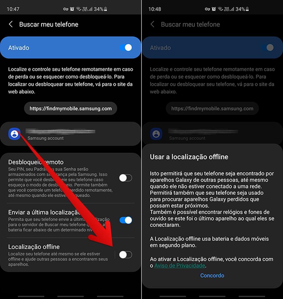 Ative a localização offline do seu dispositivo e concorde com os termos de uso — Foto: Reprodução/Filipe Garrett