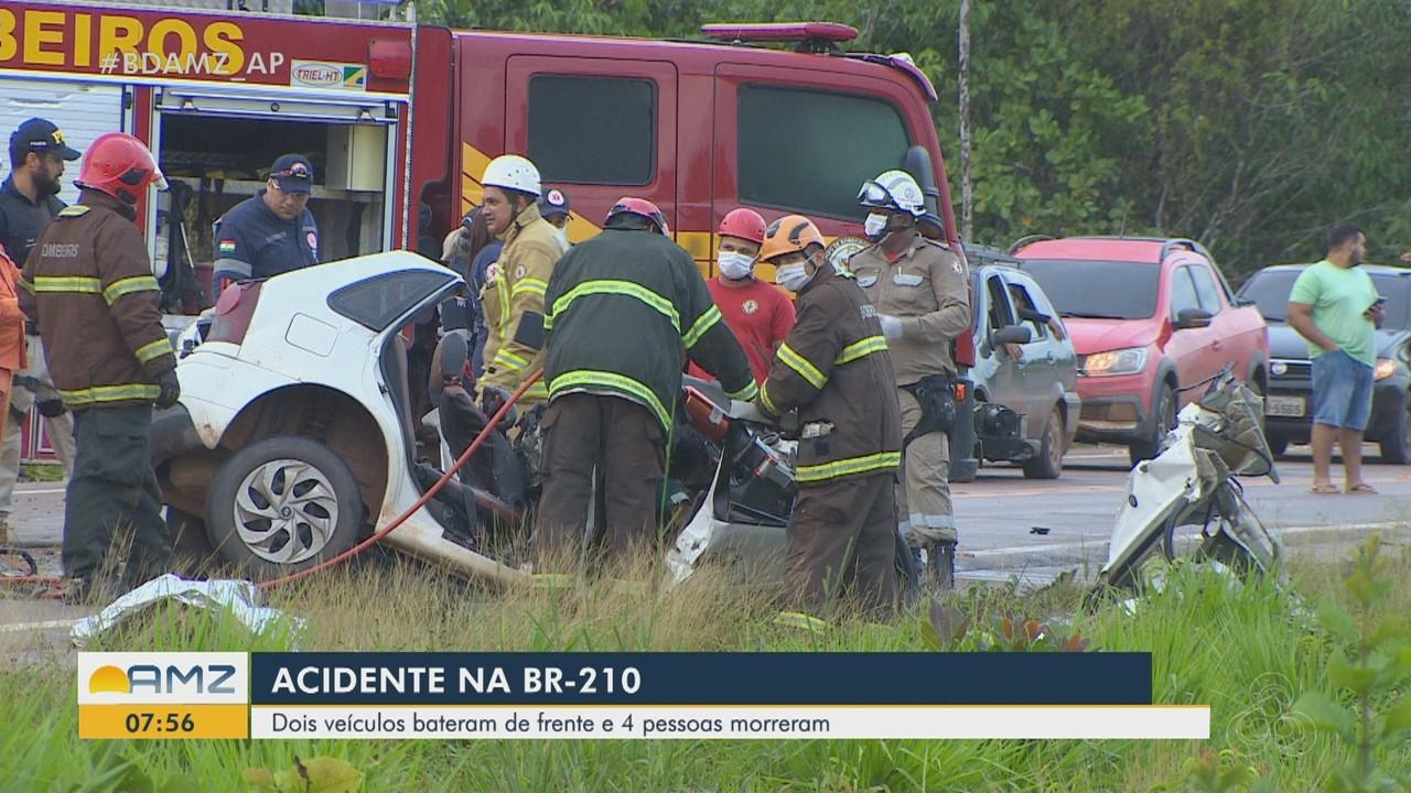 Colisão entre caminhão e carro deixa 4 mortos na BR-210, em Macapá