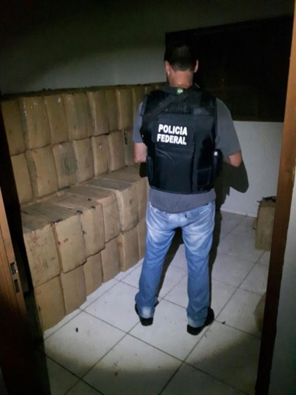 Policial em meio a material apreendido  (Foto: PF/Divulgação)