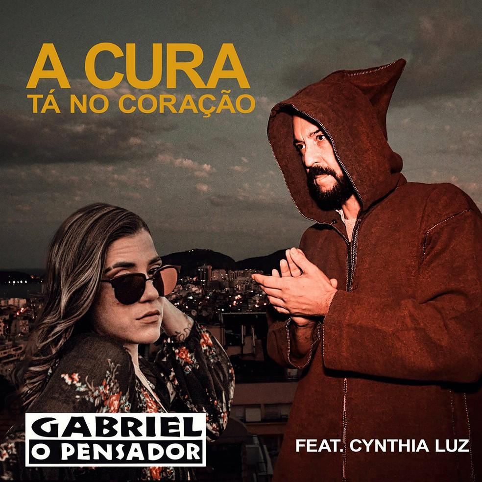 Capa do single 'A cura tá no coração', de Gabriel O Pensador com Cynthia Luz — Foto: Divulgação / ONErpm
