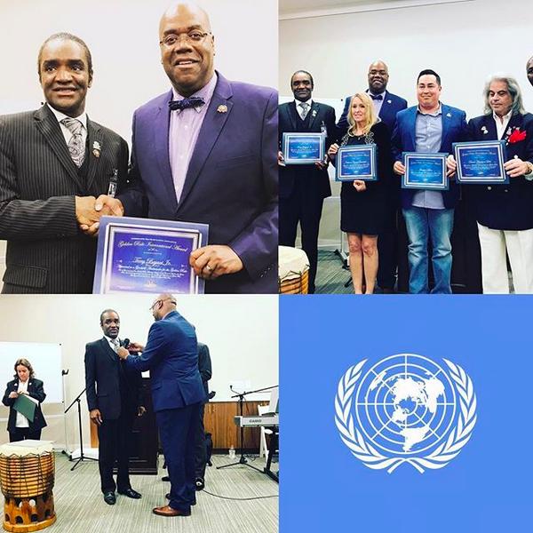 O homem acusado de roubar o Oscar de Frances McDormand, Terry Bryant, na cerimônia que ele disse ser a sua oficialização como Embaixador da ONU (Foto: Instagram)