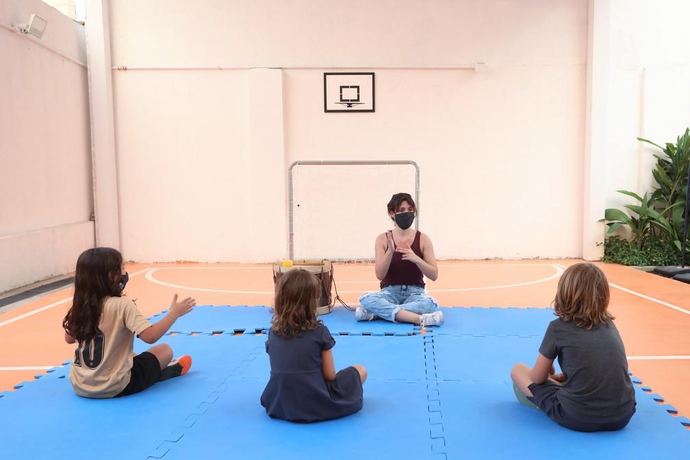Camino School, na Zona Oeste de SP, teve três alunos na retomada das atividades presenciais nesta quarta-feira (7) — Foto: Celso Tavares/G1