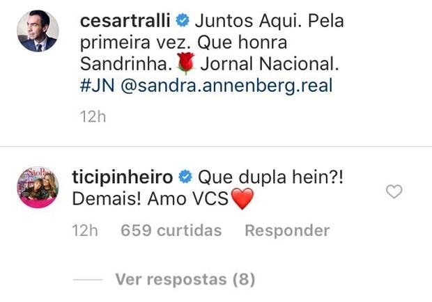 Comentário de Ticiane Pinheiro (Foto: Reprodução/Instagram)
