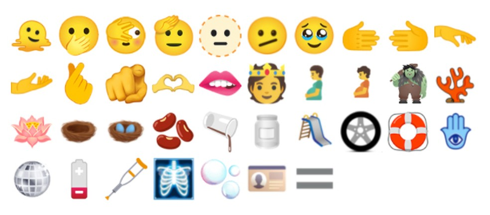 Os novos emojis aprovados em 2021 — Foto: Unicode Consortium
