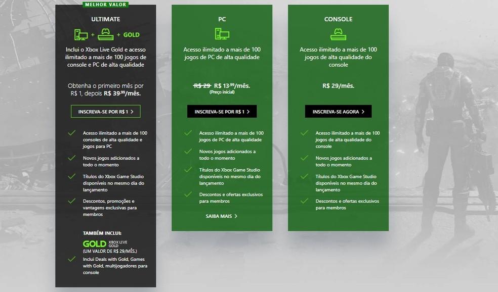 O Game Pass Ultimate é um pacote com vários serviços da Microsoft — Foto: Reprodução/Carlos Palmeira
