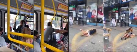Mulher sem máscara cospe em passageiro e é arremessada de ônibus