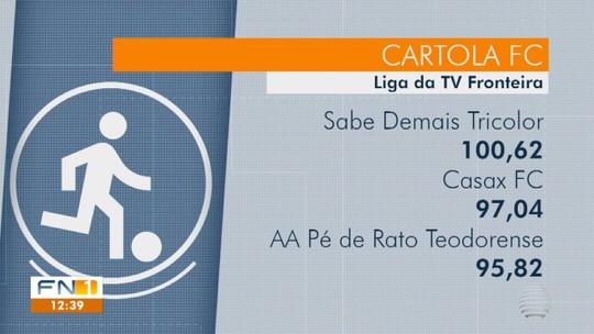 Cartoleiro honra nome na escalação do time e mita na liga da TV Fronteira no Cartola