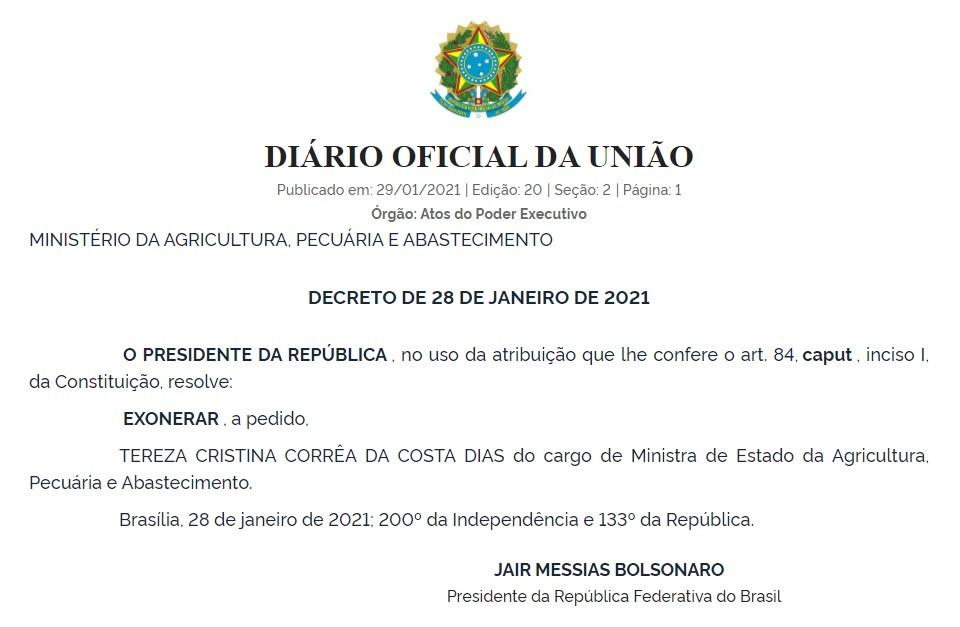 exoneracao-tereza-cristina (Foto: Reprodução/DOU)