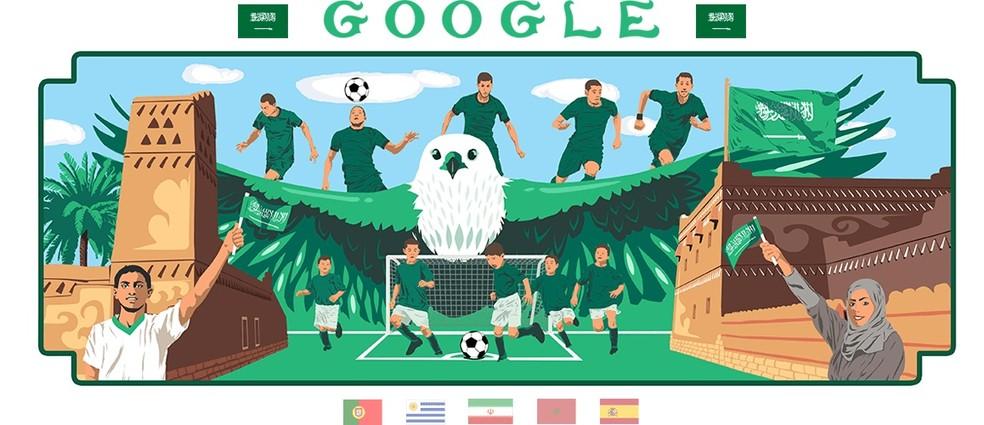 Doodle da Arábia Saudita, do artista Otman Denye, mostra crianças e adultos jogando futebol (Foto: Reprodução/Google)