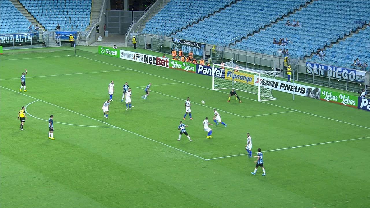 Pelo Grêmio, contra o Esportivo, no Gaúcho de 2020
