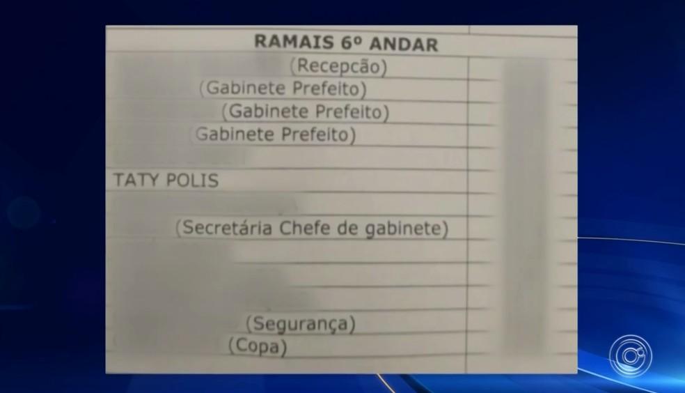 Nome de Tatiane Polis consta em lista de ramais da Prefeitura de Sorocaba — Foto: Reprodução/TV TEM