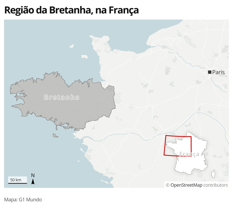 Mapa identifica a região da Bretanha, na França — Foto: G1 Mundo