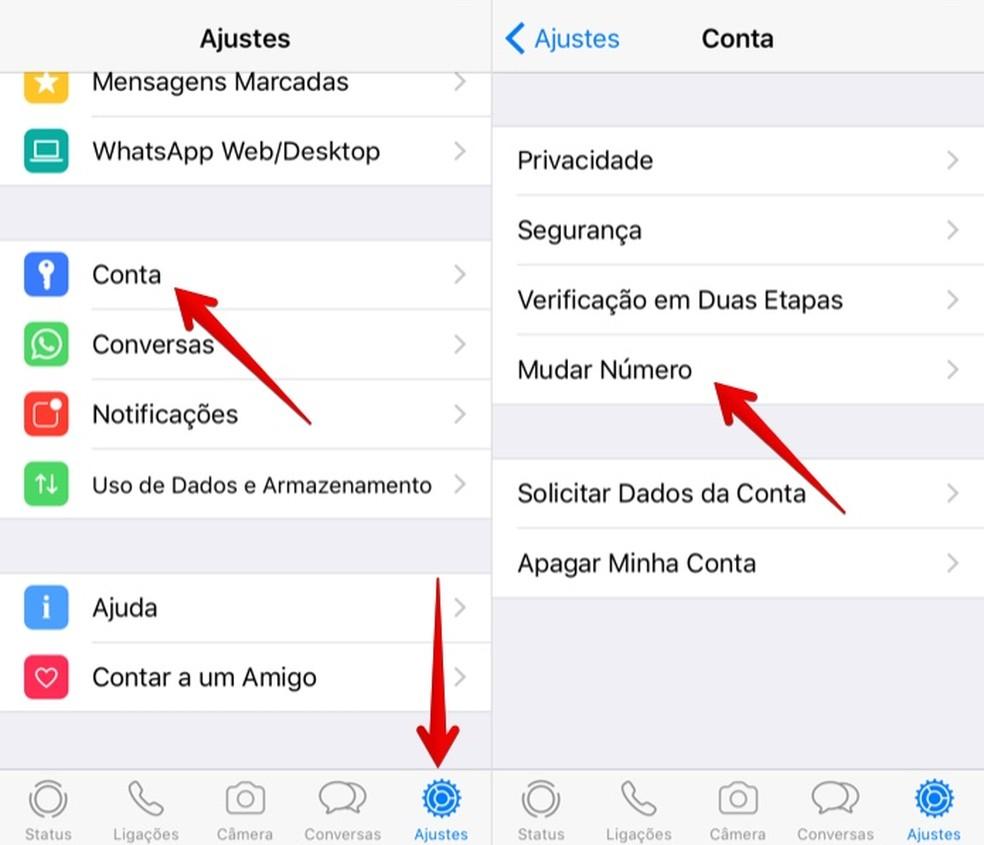 a6d6d30898 ... Abra as configurações do WhatsApp — Foto  Reprodução Helito Bijora