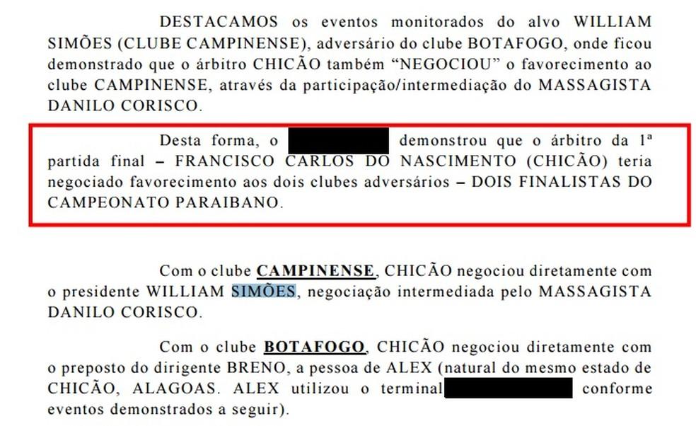 Trecho de um dos relatórios da Polícia Civil (Foto: Reprodução / GloboEsporte.com)