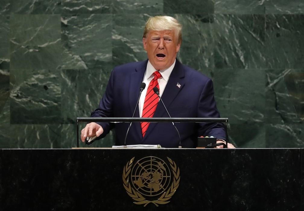 O presidente americano, Donald Trump, durante discurso nesta terça-feira (24) na Assembleia Geral da ONU, em Nova York. — Foto: Lucas Jackson/Reuters