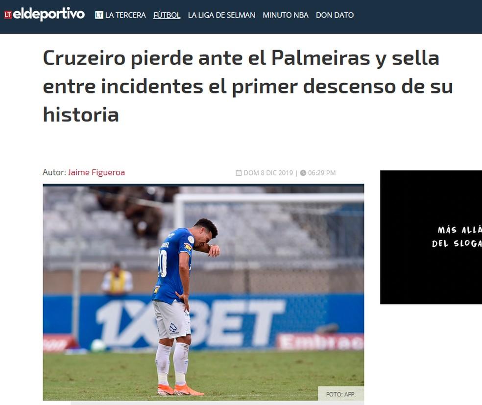 La Tercera, do Chile, repercute rebaixamento do Cruzeiro — Foto: Reprodução