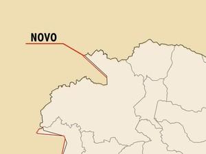 Com mudança na divisa (linha vermelha), município de Ecoporanga ganha área de 40 km²  (Foto: Reprodução/TV Gazeta)