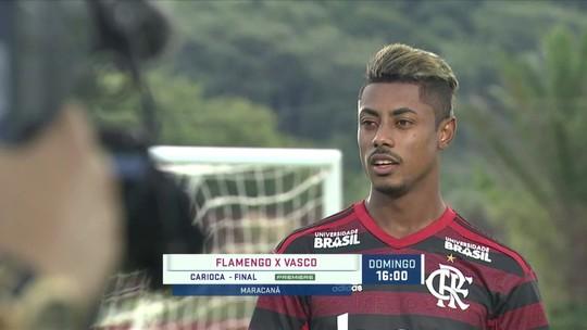 Jogadores do Flamengo participam do media day do Grupo Globo, e Bruno Henrique fala da final com o Vasco