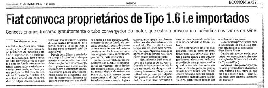 Após muita resistência, Fiat convocou o primeiro recall do Tipo em abril de 1996