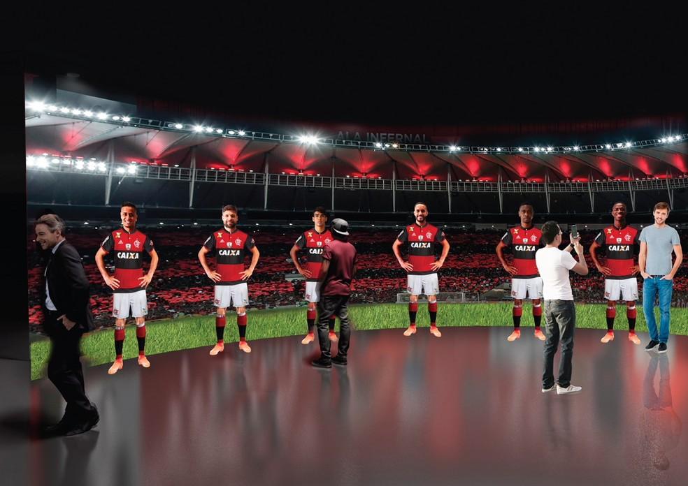 Projeto do museu com jogadores do elenco atual do Flamengo (Foto: Divulgação)