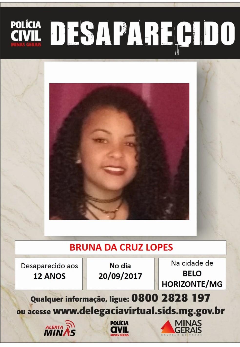 Bruna da Cruz Lopes, de 12 anos (Foto: Polícia Civil/Divulgação)