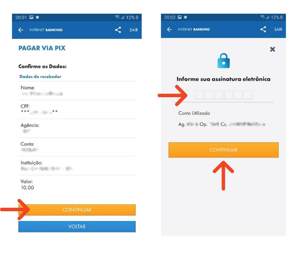 Faça um Pix com dados bancários do favorecido pelo app da Caixa — Foto: Reprodução/Lívia Dâmaso