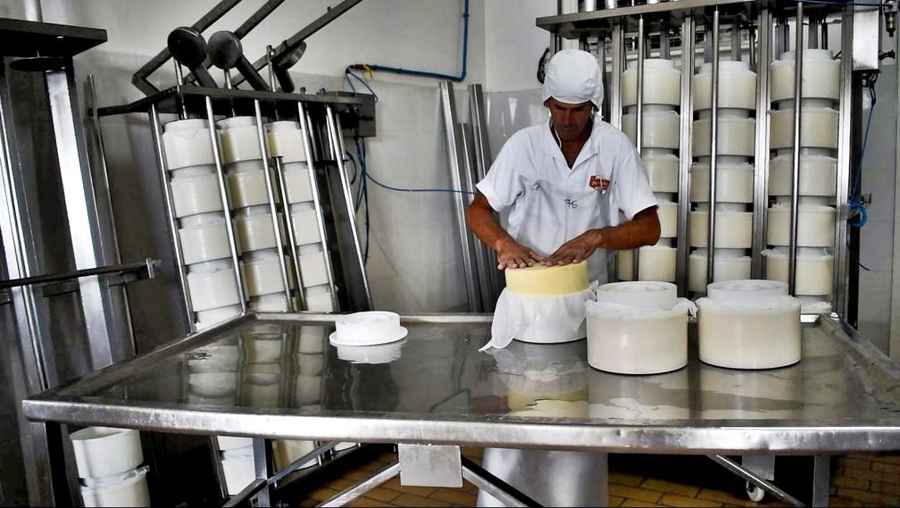 Etapas na indústria são acompanhadas por queijeiros em Cruzília (MG) — Foto: Fernanda Rodrigues/G1