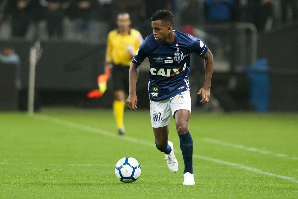 Rodrygo em ação pelo Santos nesta quarta, contra o Corinthians (Foto: Ivan Storti / Divulgação Santos FC)