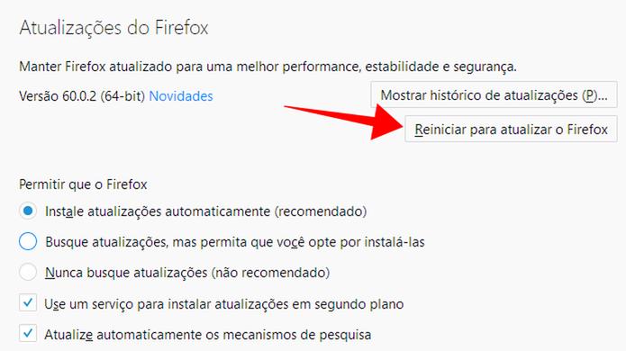 Reinicie o Firefox para aplicar uma nova atualização (Foto: Reprodução/Paulo Alves)