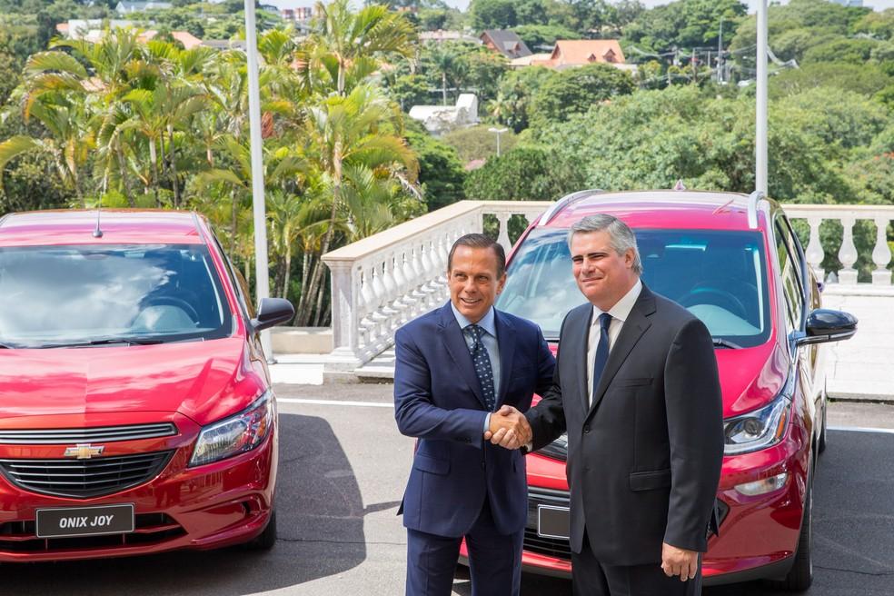 João Dória, governador do estado de São Paulo, e Carlos Zarlenga, presidente da General Motors na América Latina — Foto: Governo do Estado de São Paulo