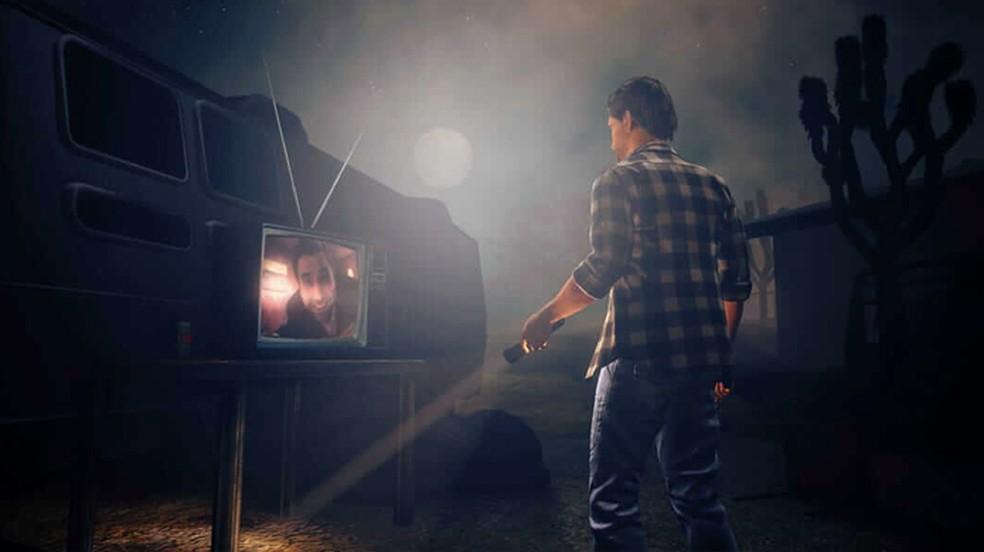 Alan Wake's American Nightmare traz o personagem de volta em uma aventura contra um sósia assassino — Foto: Reprodução/Epic Games Store