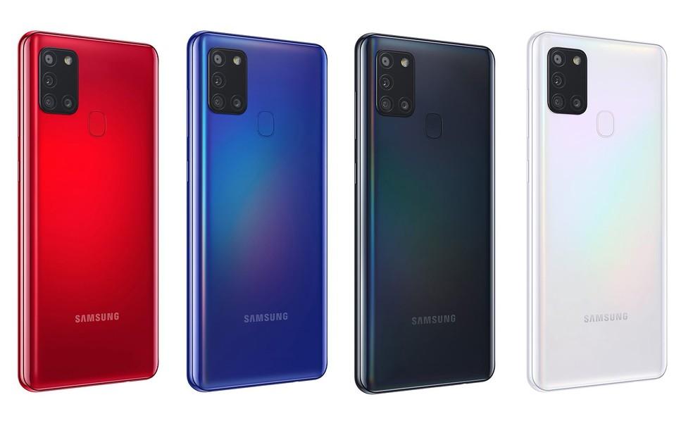 Galaxy A21s foi lançado nas cores preto, branco, azul e vermelho — Foto: Divulgação/Samsung