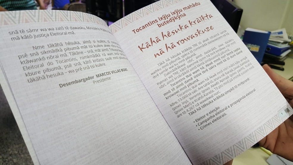 Cartilhas foram traduzidas para quatro idiomas nativos do estado — Foto: TRE/Divulgação