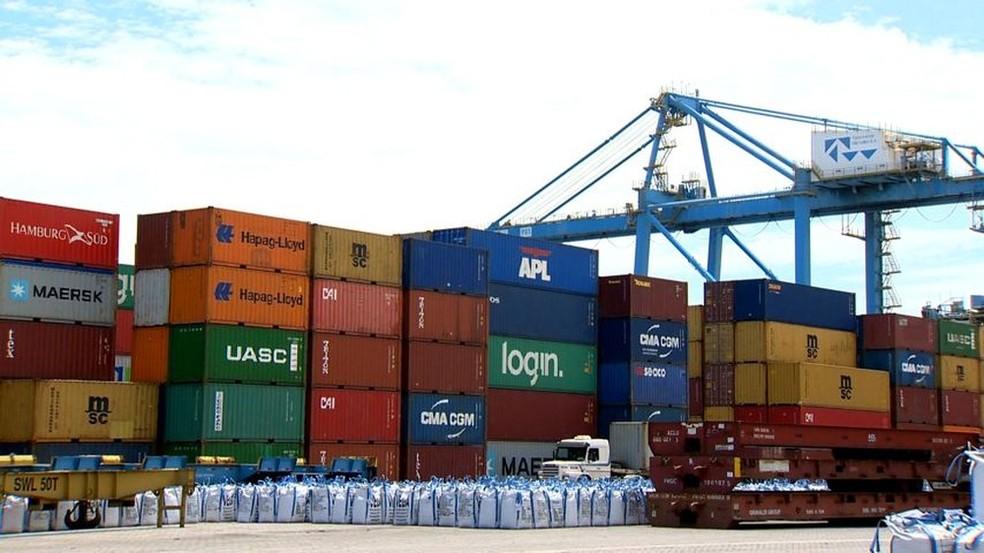 Porto de Santos, administrado pela Codesp, foi incluído em agosto no plano de privatizações — Foto: : Reprodução/ TV Gazeta