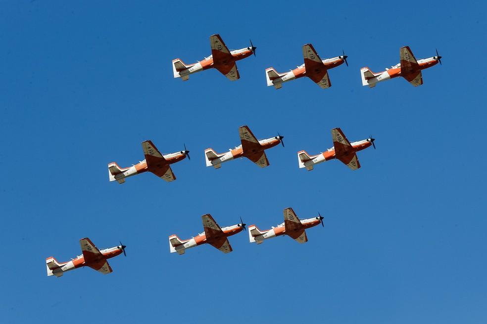 Desfile aéreo da Força Aérea Brasileira durante parada de 7 de setembro em Brasília — Foto: Cesar Itiberê/Presidência da República