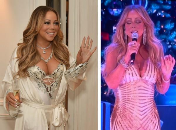 A cantora Mariah Carey, antes e depois da cirurgia bariátrica (Foto: Getty Images/YouTube)
