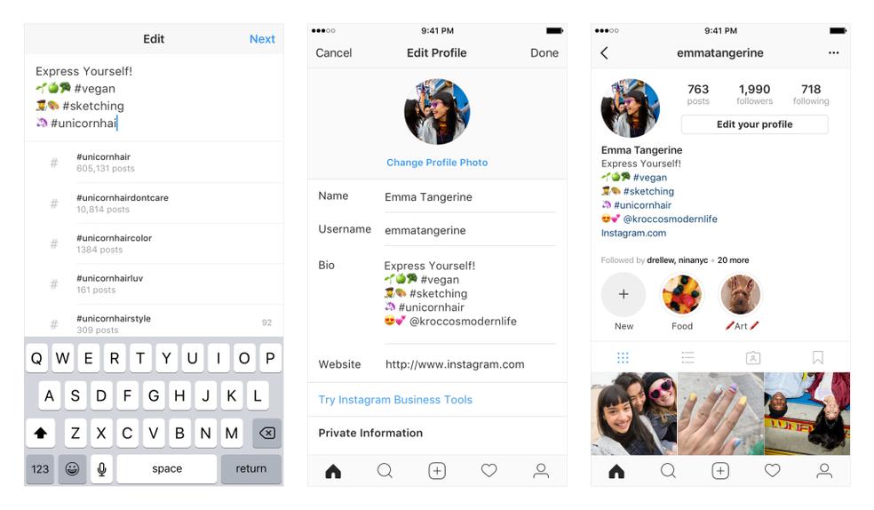 Agora é possível linkar outros perfis e hashtags na biografia do Instagram (Foto: Divulgação/Instagram)